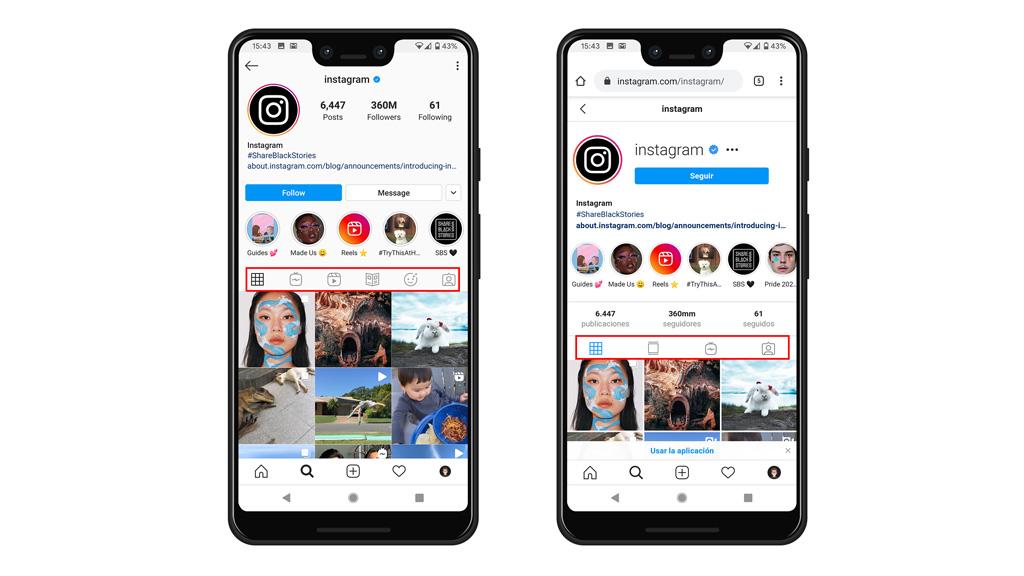 Instagram en app vs navegador