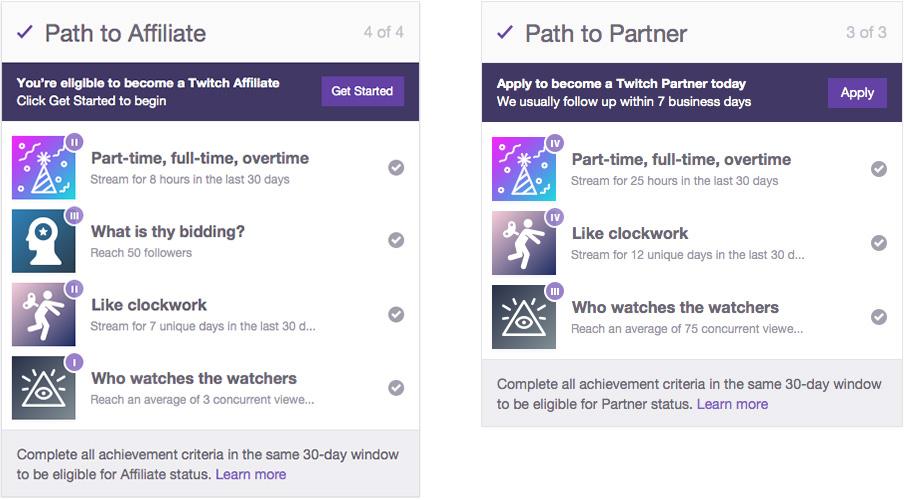 Requisitos para afiliados y socios de Twitch