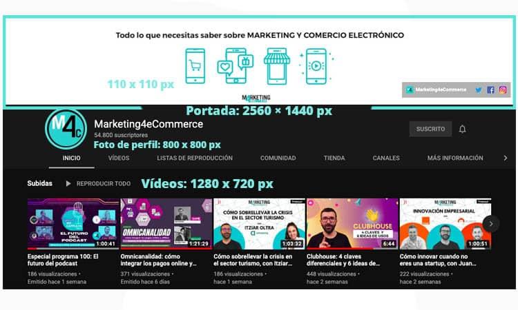 tamaño imágenes Youtube