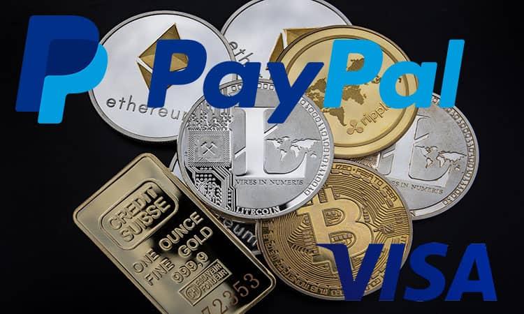 Paypal y Visa apuestan por las criptomonedas como métodos de pago