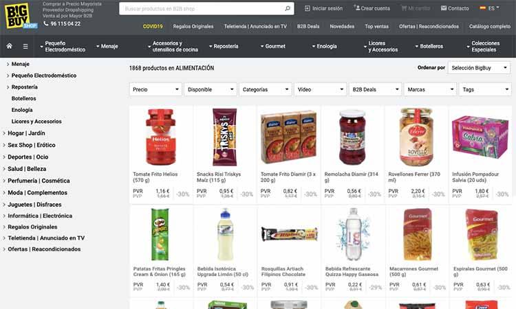dropshipping productos de supermercado